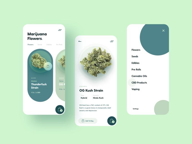 Marijuana Store Mobile App app mobile e-commerce ux ui store marijuana design system app design mobile app cbd canabis