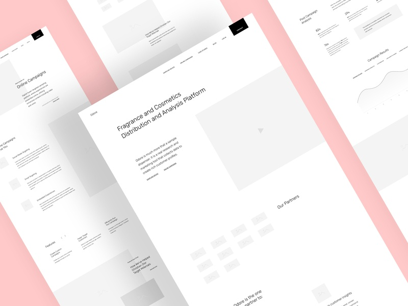 Odore Website Wireframes parfume fashion user experience wireframes ui ux website web