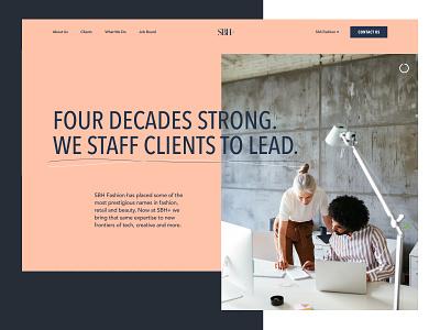 SBH+ Website fashion modern landing page homepage ui ux staffing web design