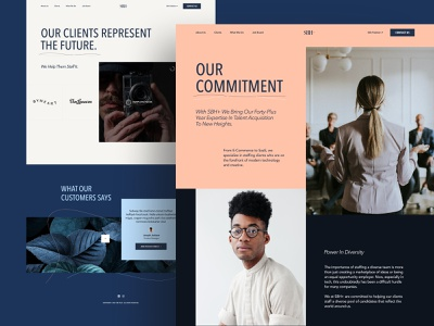 SBH+ About & Clients staffing modern b2b about website web design fashion ui ux