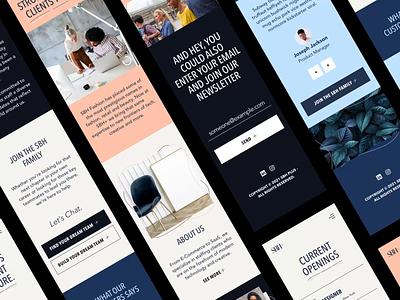 SBH+ Mobile Pages fashion staffing modern b2b mobile web design website ux ui responsive