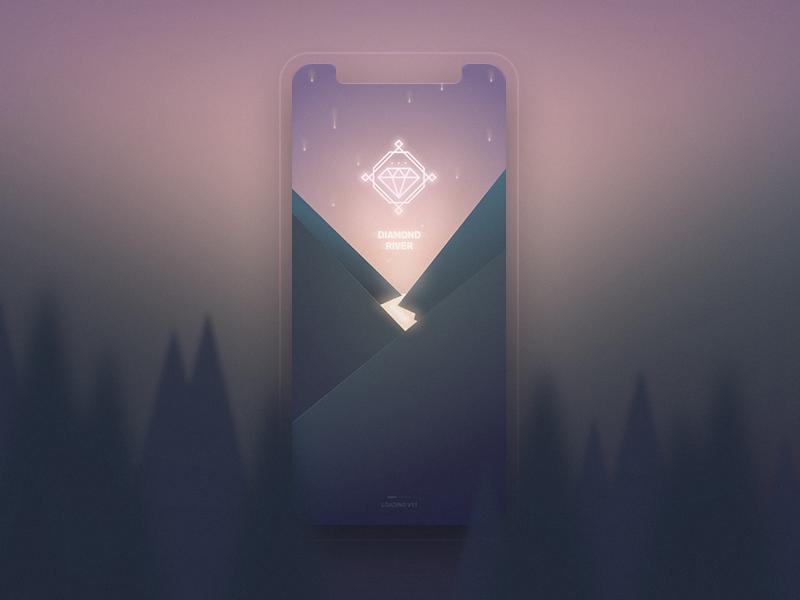 Diamond River iphonex trees adobe xd playoff rain mountains app splash contest icon river diamond