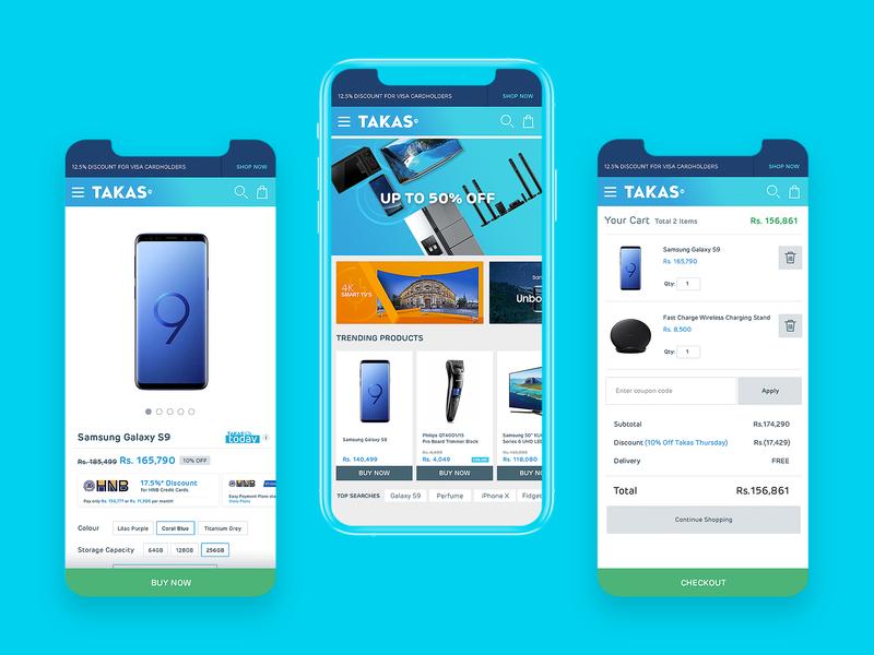 Takas - E-commerce Mobile app design branding ux ui shopping payment order mobile ios icons ecommerce design sri lanka category cart card buy app