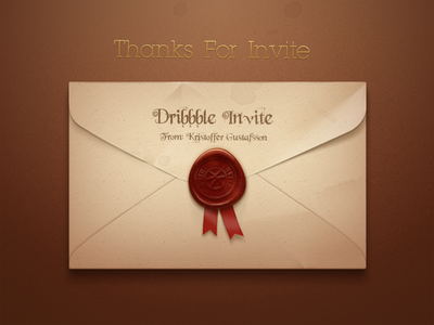 Hello, Dribbble! envelope sealing