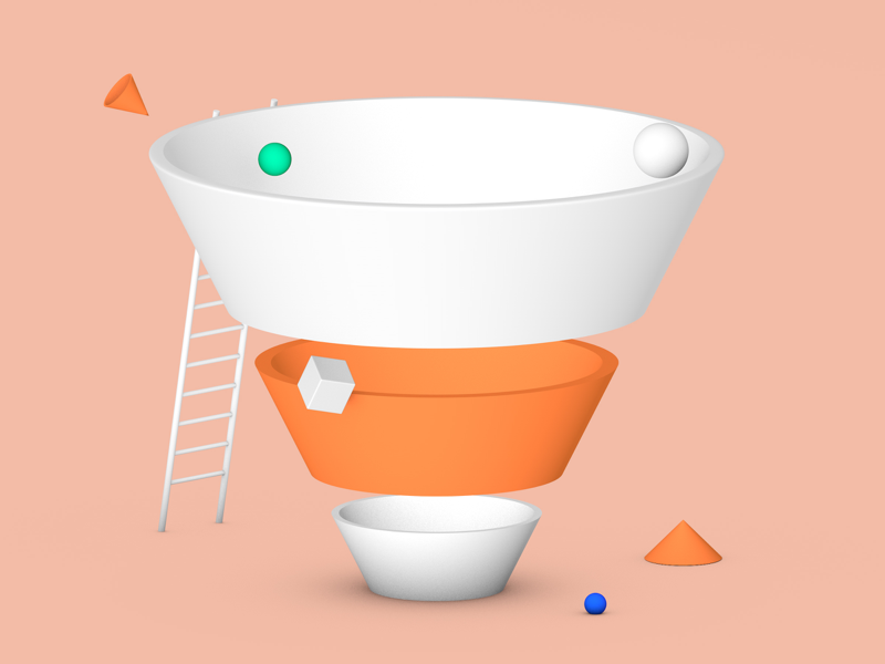 Marketing Concept funnel business character c4d