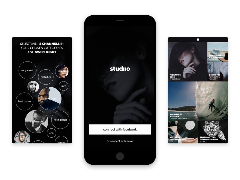 Studiio Intro visual identity brand gv gv sprint ux ui curation film curating video app