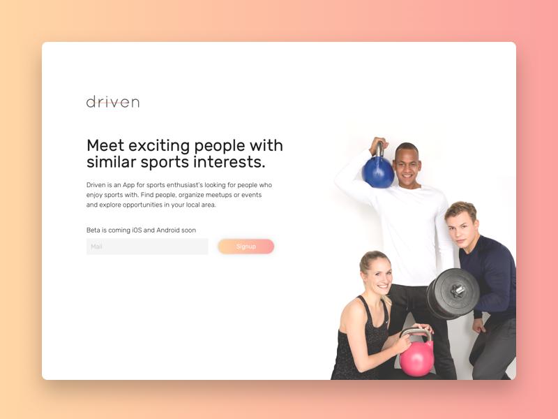 Driven Minisite sportspartner visual identity brand gv gv sprint ux ui tracking matching fitness spirt app