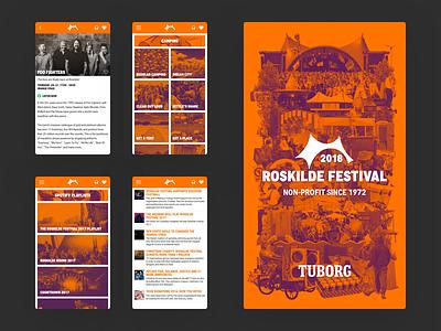 Roskilde Festival 2018 App 03 app card list festival ui splash screen news music
