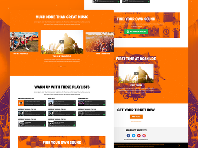 Roskilde Lineup Landing Page 02 spotify video landing page ui call to action web design