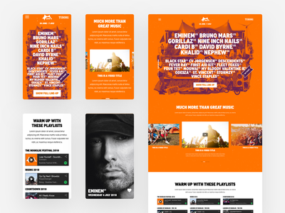 Roskilde Lineup Responsive Overview responsive mobile landing page ui call to action web design