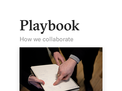 Playbook update sprint tools design tech brief playbook customers clients