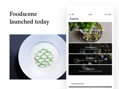 Foodscene Launched gastronomy video documentary web ui identity food maps list photography card app