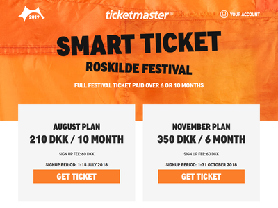 Roskilde Festival Smart Ticket web design call to action ui landing page mobile responsive ticket festival