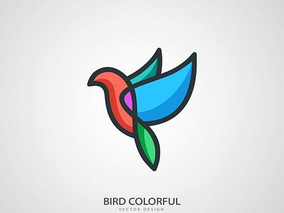 Bird Colorful Logo Design mockup psd animal logo animal vector minimal logo illustration icon flat design branding