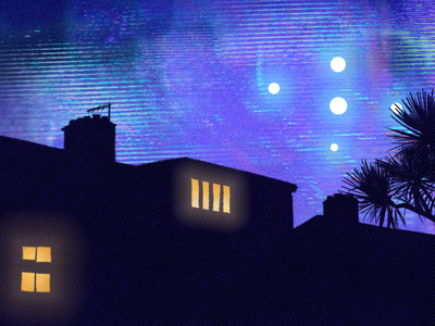 suburban rooftop texture glow lights ufos ufo silhouette rooftop skyline