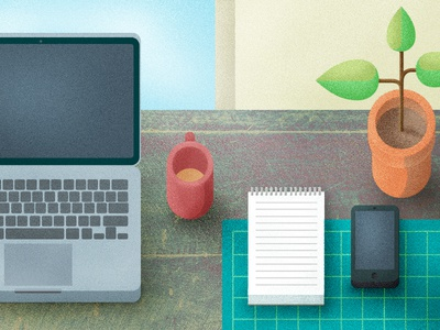 Desktop texture grain desktop workspace desk phone plant mug laptop