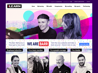 iLearn LMS design refresh take 3 disco acid halftone learning lms homepage