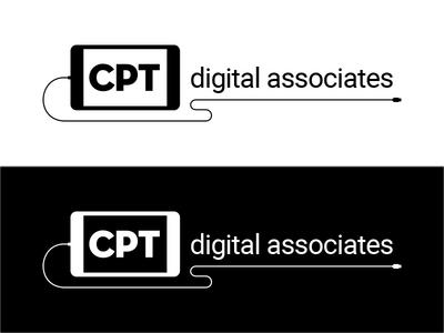 CPT digital associates logo ipad identity reverse mono digital logo