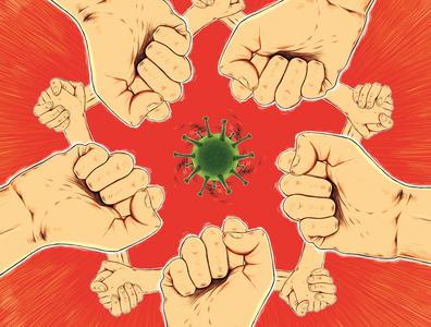 Corona virus kaleidoscope drawing corona virus illustrator illustration red bodanique bo-danique fist hands coronavirus corona