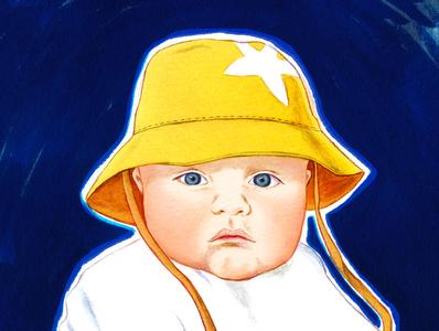 Portrait Baby Sebbie drawing bodanique bo-danique illustratie illustrator portrait painting portrait illustration portrait art portrait