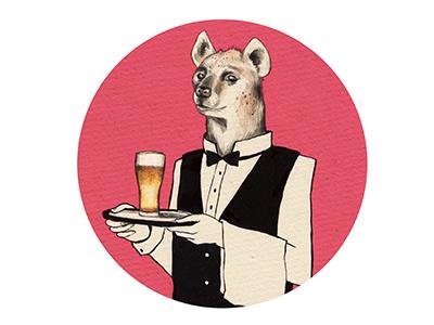 Hyena Butler hyena hyæne beer bier beercoaster design illustration colorful butler alcohol pink drinks