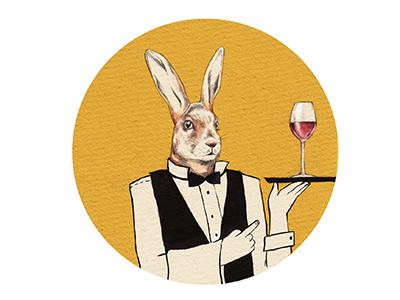 Rabbit Butler rabbit hare illustration wine yellow design illustratie konijn drinks alcohol butler