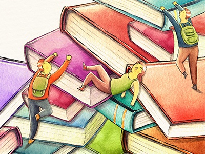 Join the Book Club  books book editorial mountain climbing top illustration study analog watercolor student
