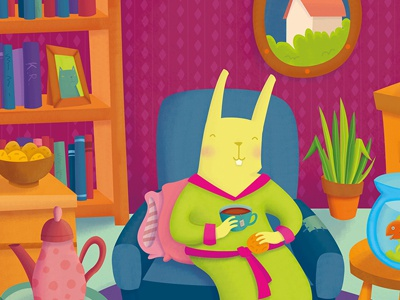 Dikke Pret cover digital inside fish cozy tea winter animal rodent rotterdam illustration cover rabbit