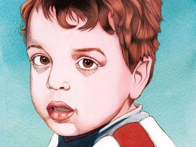 portrait of a young boy bo-danique eyes hair pencil realistic watercolor illustratie illustration portret portrait kids children boy