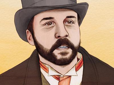 Mr. Selfridge illustratie illustration beard tie portret portrait gentleman jeremy piven hat mr. selfridge selfridge