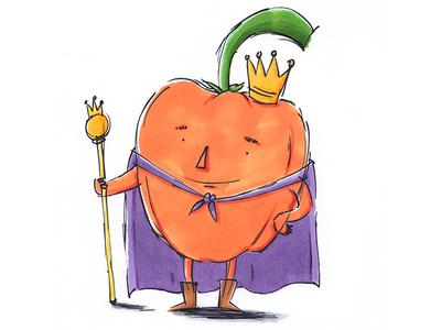 King Bell Pepper pepper veggies illustrator illustration healthy happy funny fruit design children conceptart character
