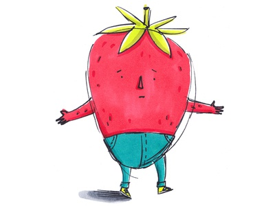 Strawberry  children sad happy funny cute conceptart character design characterdesign red fruit strawberry