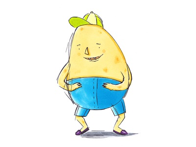 Potato boy illustration concept veggies children happy healthy design characterdesign character cute potatoes potato