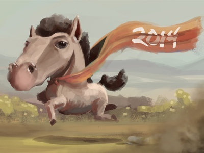Happy New Year 2014 illustration horse photoshop happy new year
