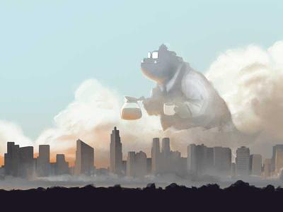Bobzilla Goes to Work illustration zillabyte city photoshop sunrise
