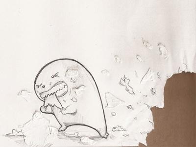 Paper Eating Cute sketch illustration