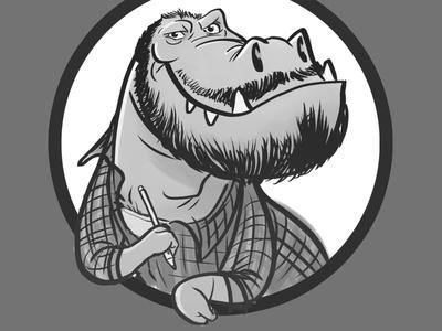 P-Rex dinosaur ink t-rex character illustration