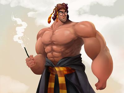 80's Action Hero: Harry Potter fan art character design illustration