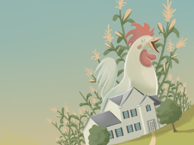 The Countryside, Corn, Roosters and Such illustration rooster