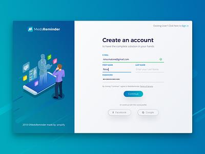 MedsReminder - Sign Up username password login form ui design sign up dailyui