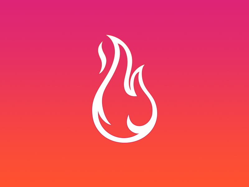 Flame fire logo illustration gradient picto flame