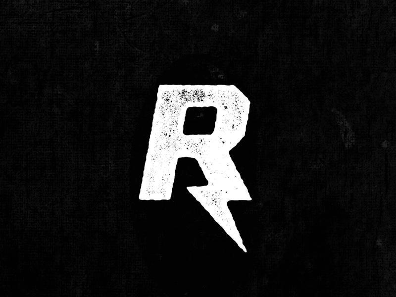R letter alphabet r capital word mark simple texture distress lightning bolt bolt sharp