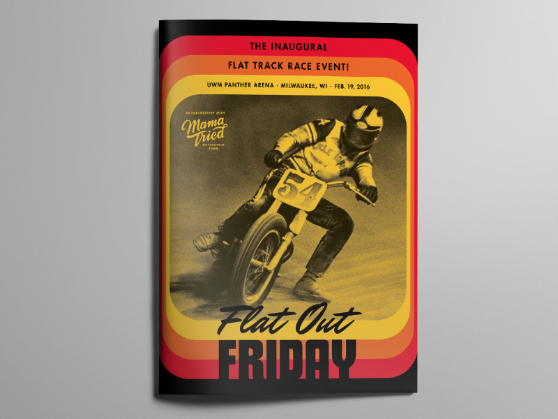 Flat Out Friday Program Cover program guide book futura vintage cover racing flat track motorcycle flat out friday