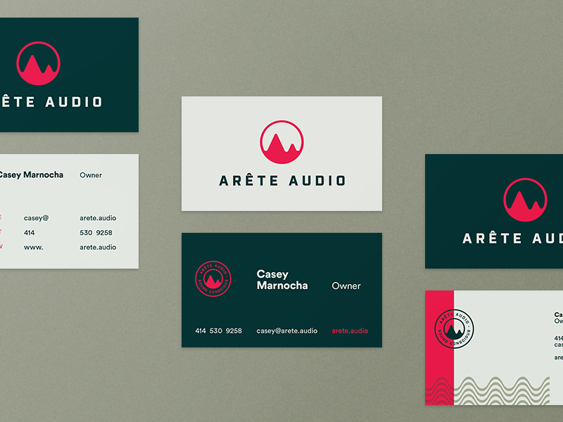 Arete Audio Business Card(s) sound pattern business card design typography wisconsin milwaukee company brand logo audio arete