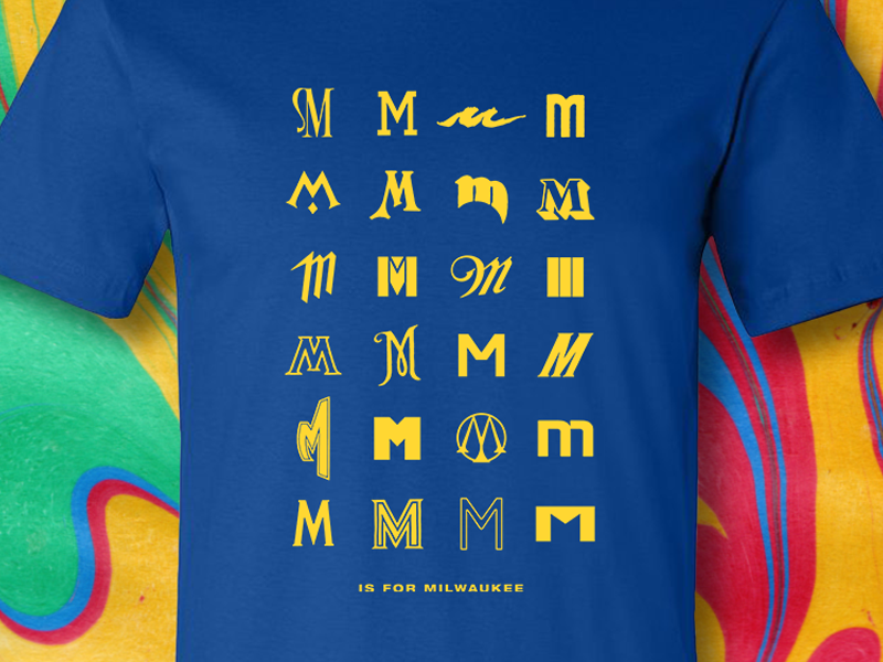 M Is For Milwaukee cream city cream yellow blue apparel typography letters em m tshirt wisconsin milwaukee