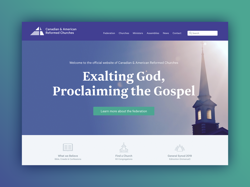 Canadian Reformed Churches Website homepage webdesign churches federation churchwebsite church website