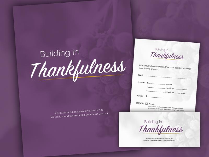 Building in Thankfulness folder pledge form donation card church envelope fundraiser