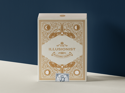The Illusionist (Playing Cards) packaging design packaging badge line art engraving illustrator etching playing cards peter voth design illustration