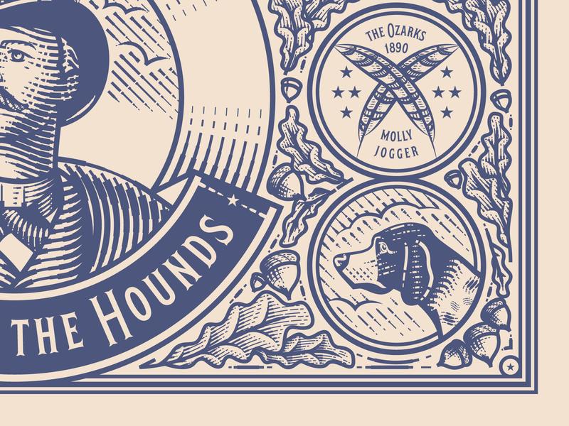 Master of the Hounds Packaging Details graphic design line art illustrator etching peter voth design engraving logo vector badge illustration