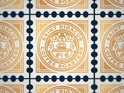 Saint Didacus Coffee Roasters stamp design stamp line art illustrator etching icon peter voth design engraving logo vector badge illustration